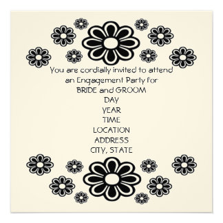Black and White Daisies Invitation Card