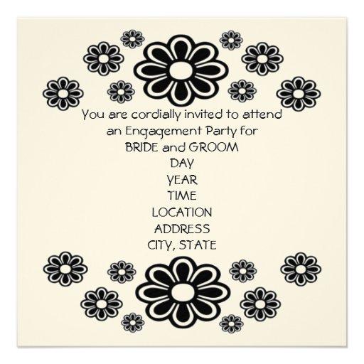 Black and White Daisies Invitation Card