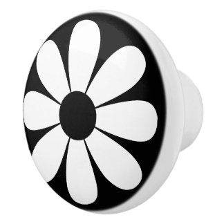Black and White Daisy Ceramic Knob