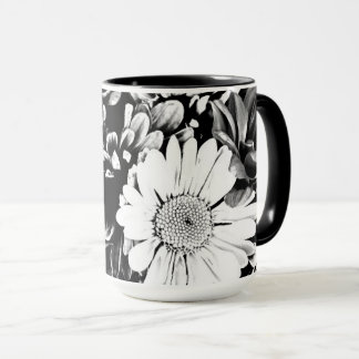 Black and White Daisy Flowers Floral Mug
