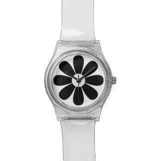 Black and White Daisy Numberless Watch