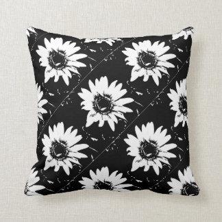 black and white daisy square throw cushion
