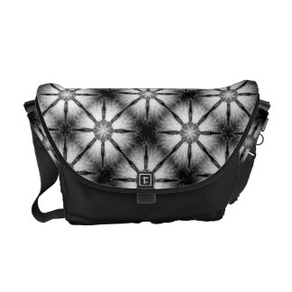 Black and White Daisy Star Checkered Pattern Messenger Bag