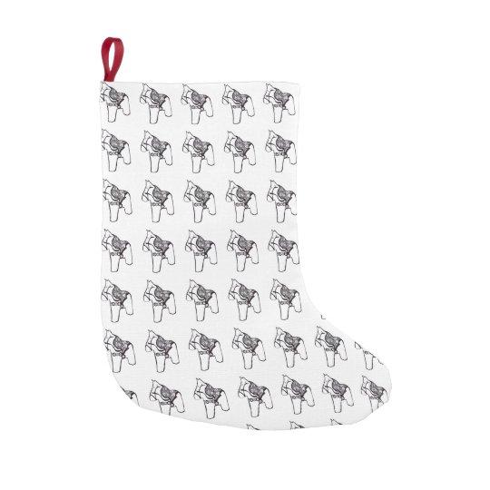 Black and White Dala Horse Small Christmas Stocking