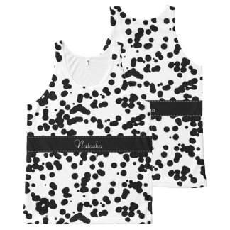 Black and White Dalmatian Spots All-Over Print Singlet