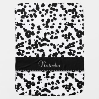 Black and White Dalmatian Spots Baby Blanket