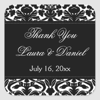 "Black and White Damask 1.5"" Thank You Sticker"