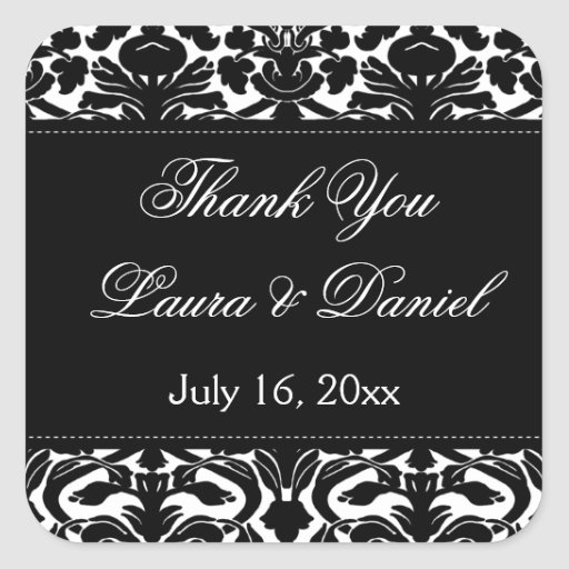 """Black and White Damask 1.5"""" Thank You Sticker"""