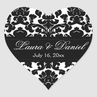 "Black and White Damask 1.5"" Wedding Sticker"