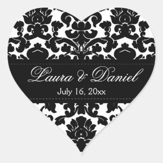 "Black and White Damask 1.5"" Wedding Sticker"