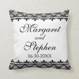 Black and White Damask 1 Cushion