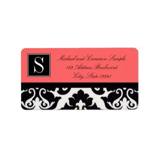 Black and White Damask Address Label