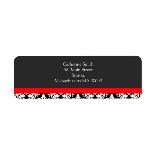 Black and White Damask Address Labels with Red
