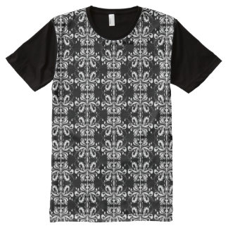 Black and White Damask All-Over Print T-Shirt
