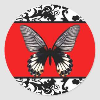 Black and White Damask and Butterfly Sticker