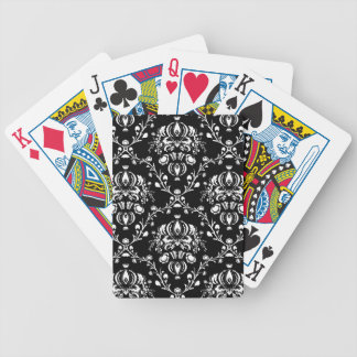 Black and White Damask Bicycle Playing Cards
