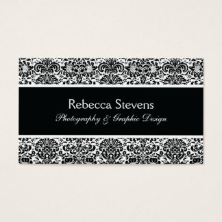 Black and White Damask Business Card
