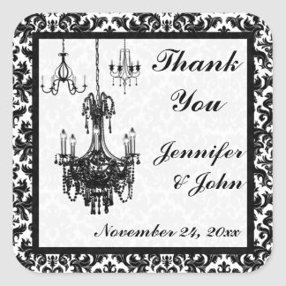Black and White Damask Chandeliers Wedding Favor Square Stickers