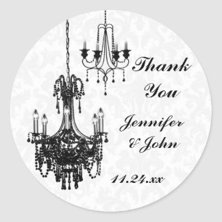 Black and White Damask Chandeliers Wedding Favor Round Stickers