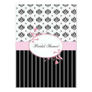 Black And White Damask Chic Bridal Shower 14 Cm X 19 Cm Invitation Card