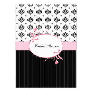 Black And White Damask Chic Bridal Shower Invitations