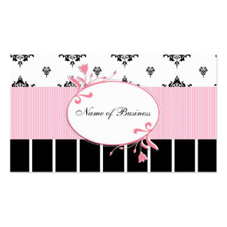 Black And White Damask Chic Pink Floral Pack Of Standard Business Cards