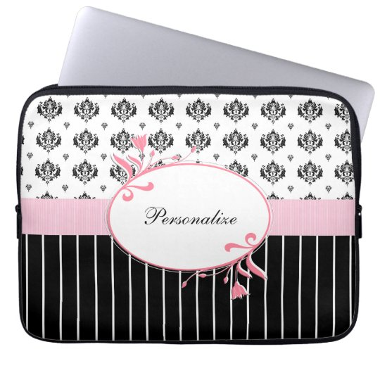 Black And White Damask Chic Pink Floral With Name Laptop Sleeve