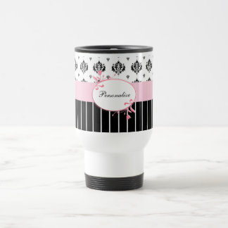 Black And White Damask Chic Pink Floral With Name Travel Mug