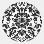 Black and White Damask Classic Round Sticker