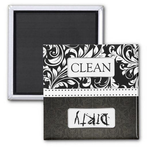 Black and White Damask Clean / Dirty Dishwasher Magnets