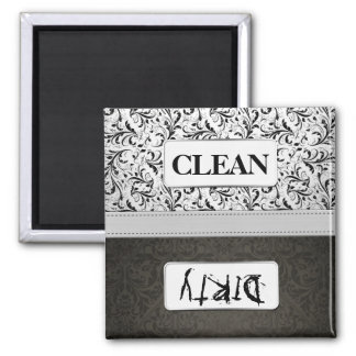 Black and White Damask Clean / Dirty Dishwasher Square Magnet