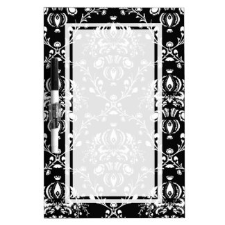 Black and White Damask Dry Erase White Board