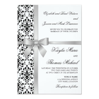 Black and White Damask Faux Silver Ribbon Wedding 13 Cm X 18 Cm Invitation Card