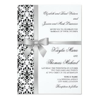 Black and White Damask Faux Silver Ribbon Wedding Card
