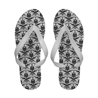 Black and White Damask Flip Flops