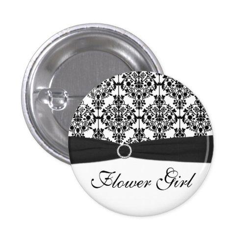 Black and White Damask Flower Girl Pin