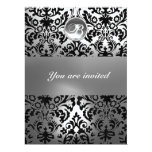 BLACK AND WHITE DAMASK GEM STONE MONOGRAM 17 CM X 22 CM INVITATION CARD
