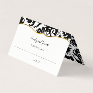 Black and White Damask Gold Trim Wedding Place Card