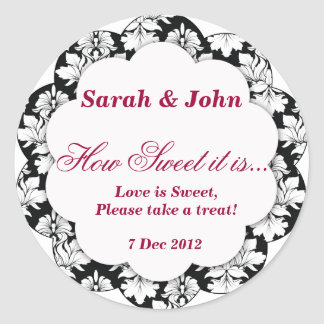 black and white damask How Sweet it is Sticker