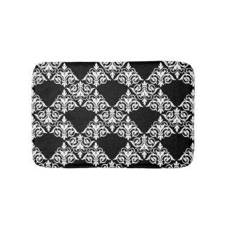 Black and White Damask Lattice Bathmat