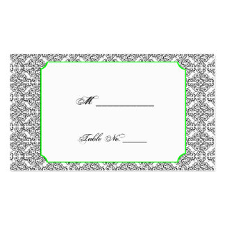 Black and White Damask Lime Wedding Place Cards Business Card Templates