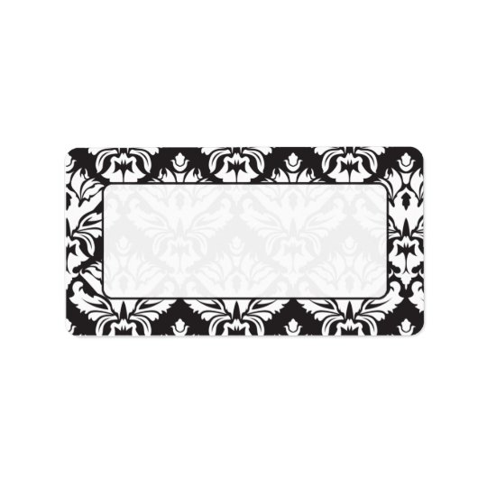 Black And White Damask Mailing Lables Label
