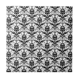 Black and White Damask Matching Kitchen Small Square Tile