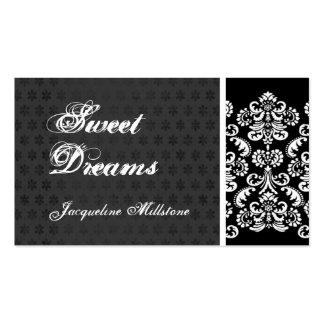 Black and White Damask Monogram Business Card