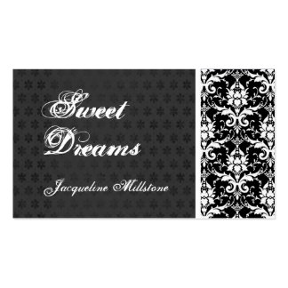 Black and White Damask Monogram Business Card