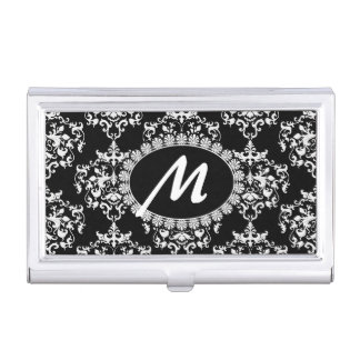 Black and White Damask Monogram Business Card Case