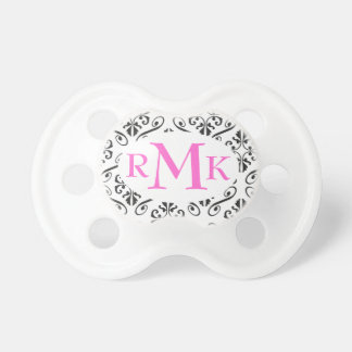 Black and White Damask Monogram Personalized Pacif Dummy