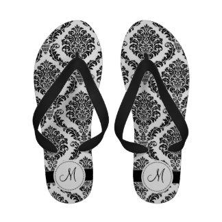 Black and White Damask Monogram Sandals