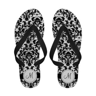 Black and White Damask Monogram Sandals