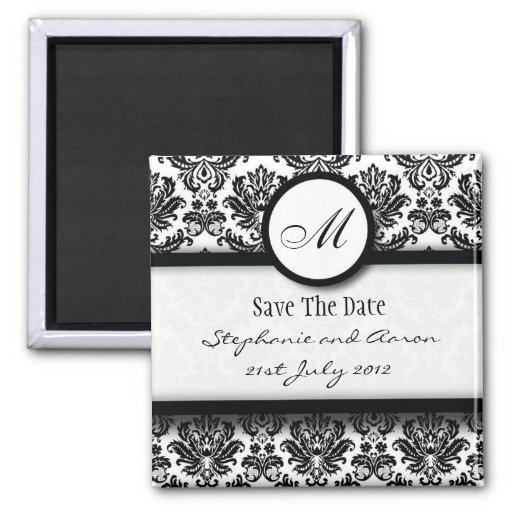 Black and White Damask Monogram Save The Date Magnet